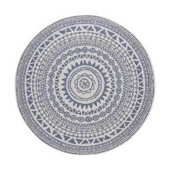 Covor adecvat pentru exterior Bougari Coron, ø 200 cm, albastru-crem bonami.ro