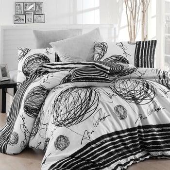 Lenjerie de pat cu cearșaf pentru pat dublu Nazenin Home Blacky, 200 x 220 cm bonami.ro