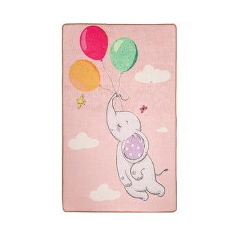 Covor antiderapant pentru copii Chilai Balloons,140x190cm, roz bonami.ro