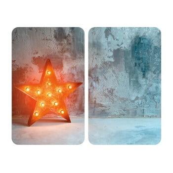 Set 2 suporturi din sticlă pentru protecția aragazului Wenko Star, 52 x 30 cm poza bonami.ro