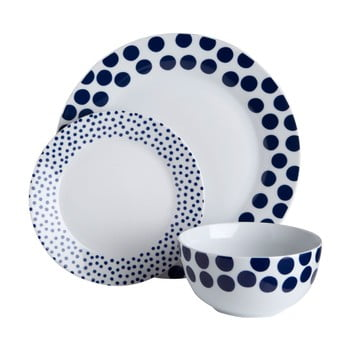 Set 12 piese de veselă Premier Housewares Blue Spots poza bonami.ro