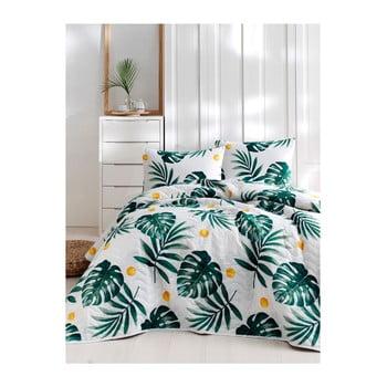 Set cuvertură de pat și față de pernă din bumbac Lura Jungle, 160 x 220 cm bonami.ro
