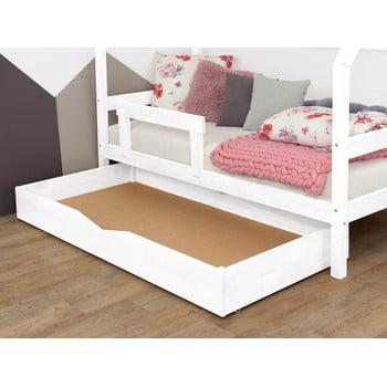 Sertar din lemn pentru pat cu somieră pe suprafață plină Benlemi Buddyn,80x140cm, alb imagine
