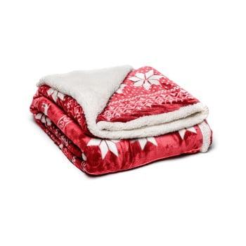 Pătură din micropluș My House Winter, 150 x 200 cm, roșu bonami.ro