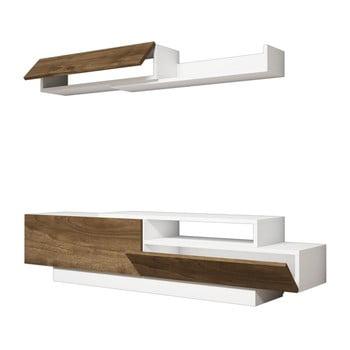 Set comodă TV și poliță perete cu detalii cu aspect de lemn de nuc Ratto Elda, alb bonami.ro
