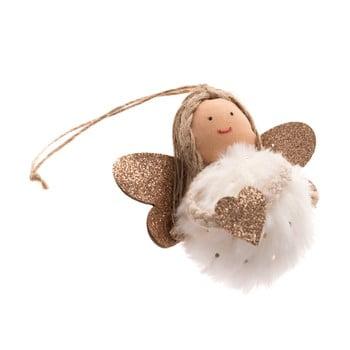 Decorațiune textilă suspendată Dakls, lungime 9 cm, alb, înger poza bonami.ro