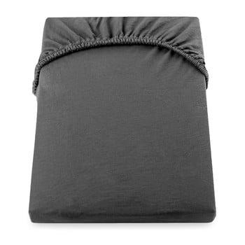 Cearșaf de pat cu elastic DecoKing Nephrite, 80–90 cm, gri închis bonami.ro