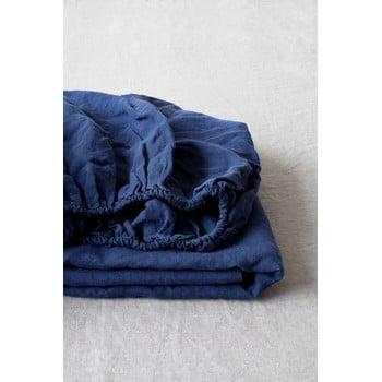 Cearșaf elastic din in Linen Tales, 180 x 200 cm, albastru marin imagine