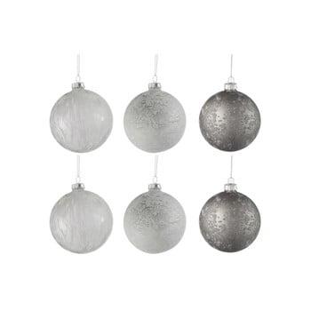 Set 6 globuri din sticlă pentru Crăciun J-Line Bauble, ø 8 cm, alb-argintiu bonami.ro