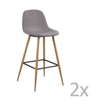 Set 2 scaune pentru bar Actona Wilma Barstool Vintage, gri deschis imagine