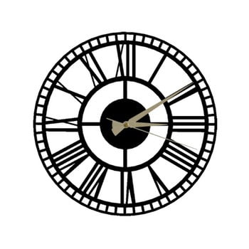 Ceas de perete Roman Clock 2, ⌀ 50 cm, negru bonami.ro