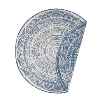 Covor adecvat pentru exterior Bougari Siruma, ø 200 cm, albastru-crem imagine