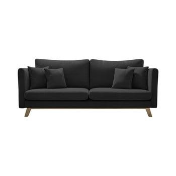 Canapea extensibilă cu 3 locuri Bobochic Paris Triplo, negru imagine