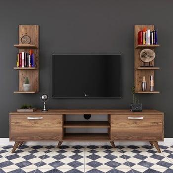 Set comodă TV și rafturi de perete Wren Nut, natural bonami.ro