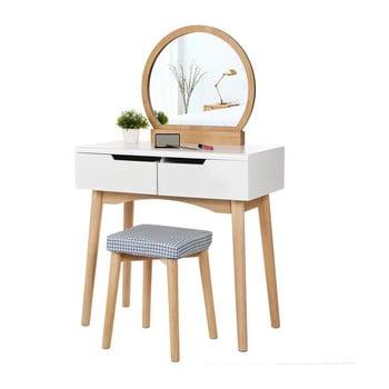Măsuță de toaletă din lemn cu oglindă, scaun și două sertare Songmics bonami.ro