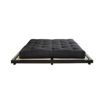 Pat dublu din lemn de pin cu saltea și tatami Karup Design Dock Double Latex Black/Black, 160 x 200 cm imagine