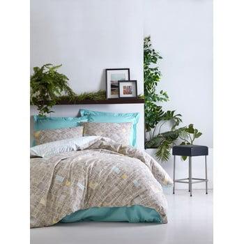 Lenjerie de pat din bumbac cu cearșaf Cotton Box Dotted, 200 x 220 cm bonami.ro