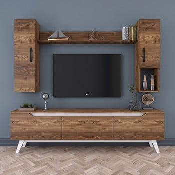 Set comodă TV, 2 dulapuri și raft de perete Wren Nut imagine