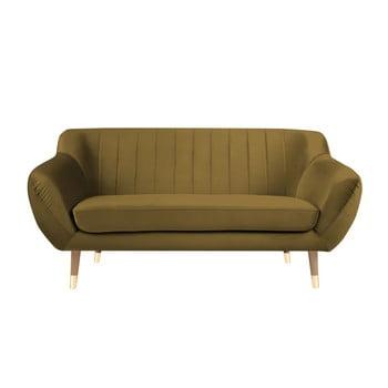 Canapea cu tapițerie din catifea Mazzini Sofas Benito, auriu, 158 cm bonami.ro