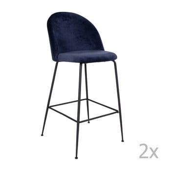 Set 2 scaune bar tapițate House Nordic Lausanne, albastru-negru imagine