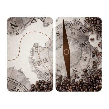 Set 2 protecții din sticlă pentru aragaz Wenko Compass,52x30cm poza bonami.ro