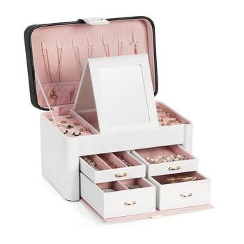 Cutie de bijuterii din lemn cu 4 sertare Songmics, alb bonami.ro