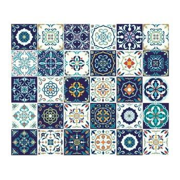 Set 30 autocolante de perete Ambiance Tiles Azulejos Forli, 10 x 10 cm bonami.ro