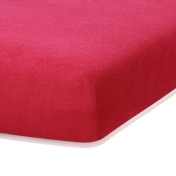 Cearceaf elastic AmeliaHome Ruby, 200 x 100-120 cm, roșu bordo poza bonami.ro