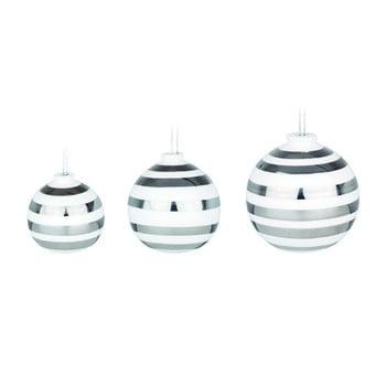 Set 3 globuri de Crăciun din ceramică Kähler Design Omaggio, alb-argintiu bonami.ro