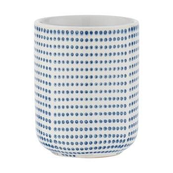 Suport ceramică pentru periuțe de dinți Wenko Nole, alb - albastru poza bonami.ro