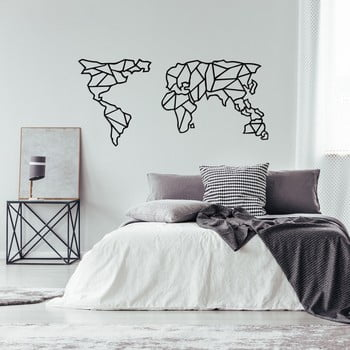 Decorațiune metalică de perete Geometric World Map, 150 x 80 cm, negru imagine