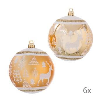 Set 6 decorațiuni de Crăciun Unimasa Deer, auriu bonami.ro