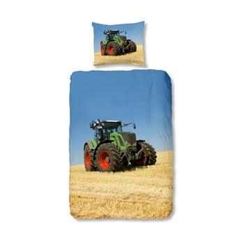 Lenjerie de pat din bumbac pentru copii Good Morning Tractor, 140 x 200 cm bonami.ro