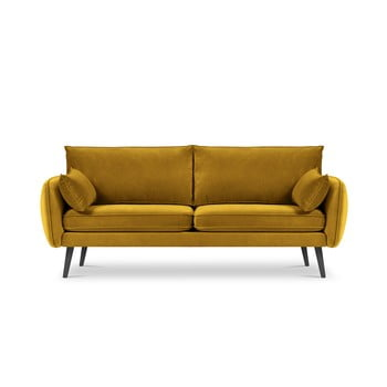 Canapea cu tapițerie din catifea Kooko Home Lento, 198 cm, galben bonami.ro