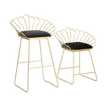 Set 2 scaune bar Mauro Ferretti Flower, auriu-negru imagine
