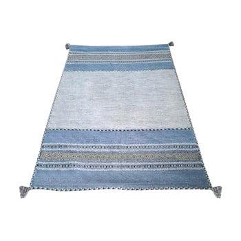 Covor din bumbac Floorita Antique Kilim, 160 x 230 cm, albastru-gri imagine