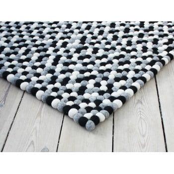 Covor cu bile din lână Wooldot Ball Rugs, 100 x 150 cm, alb - negru imagine