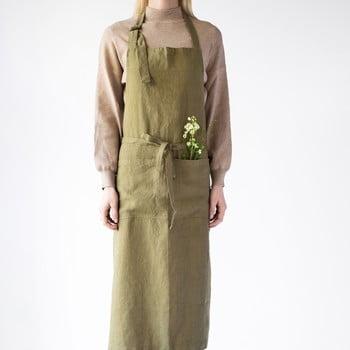 Șorț din in Linen Tales Chef, lungime 100cm, verde măsliniu bonami.ro