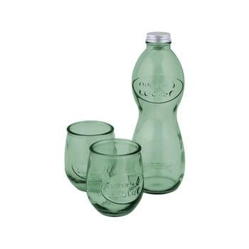 Set 1 sticlă și 2 pahare din sticlă reciclată Ego Dekor Water, verde bonami.ro