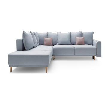 Canapea extensibilă cu șezlong pe partea stângă Bobochic Paris Mola L, albastru pastelat imagine