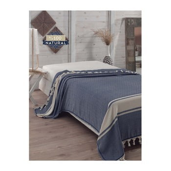 Cuvertură pat din bumbac Elmas Dark Blue, 200 x 240 cm, albastru închis bonami.ro