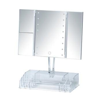 Oglindă cosmetică extensibilă cu ancadrament LED și organizator pentru machiaje Wenko Fanano, alb bonami.ro