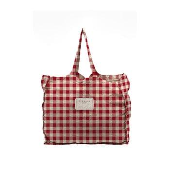 Geantă textilă Linen Couture Linen Bag Red Vichy poza bonami.ro