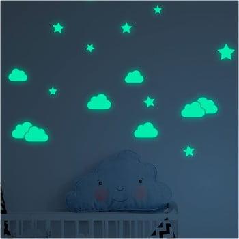 Set autocolante fosforescente de perete Ambiance Clouds and Stars poza bonami.ro