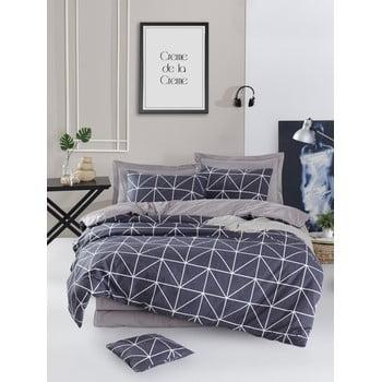 Lenjerie de pat din bumbac ranforce pentru pat de 1 persoană Mijolnir Gina Anthracite, 140 x 200 cm bonami.ro
