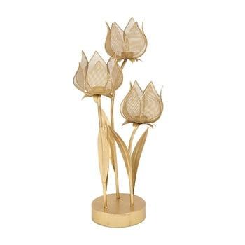 Sfeșnic pentru 3 lumânări Mauro Ferretti Flowery, înălțime 66 cm, auriu poza bonami.ro