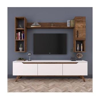 Set comodă TV, 2 rafturi și dulap de perete Rani White bonami.ro
