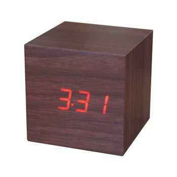 Ceas deșteptător cu LED Gingko Cube Click Clock, maro - roșu bonami.ro