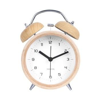Ceas alarmă cu decor ca de lemn Karlsson Classic bell, alb, ⌀ 10 cm bonami.ro