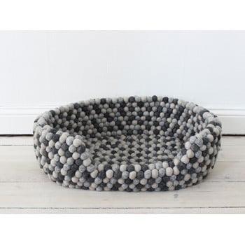 Pat cu bile din lână pentru animale de companie Wooldot Ball Pet Basket, 40 x 30 cm, gri închis imagine